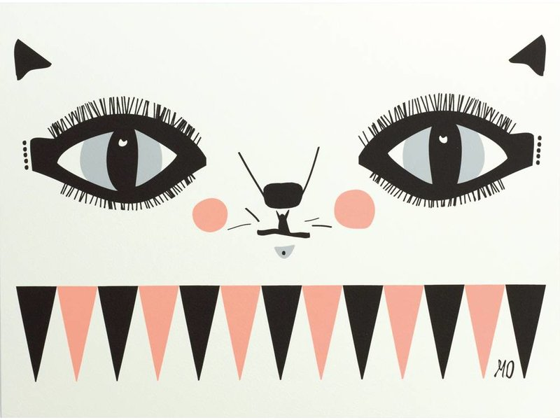 Going Danish A3 poster cat face