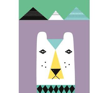 XL poster ijsbeer lila