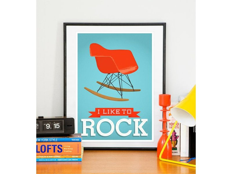 Restyle poster like to rock blauw