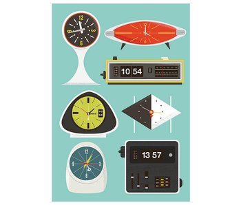 poster retro clocks A4
