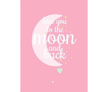 kaart love you to the moon pink