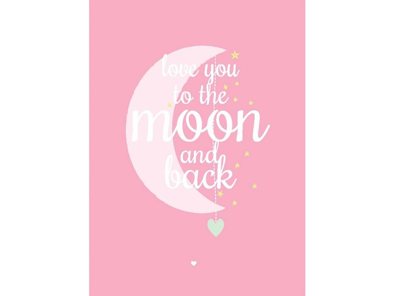 Petite Louise kaart love you to the moon pink