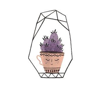 kaart cactus kopje paars