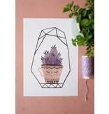 Teken-ing kaart cactus kopje paars