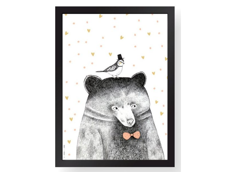 The birds & the bees A4 poster bear