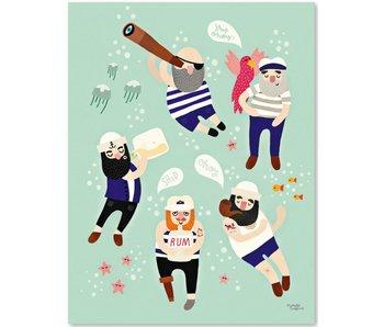 A5 kaart - mini poster Sailor Friends