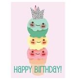 Sparkling paper kaart happy birthday icecream