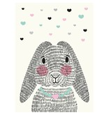 Sparkling paper kaart mrs. rabbit