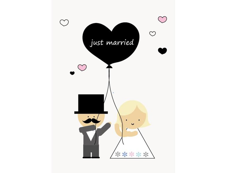 Sparkling paper kaart just married