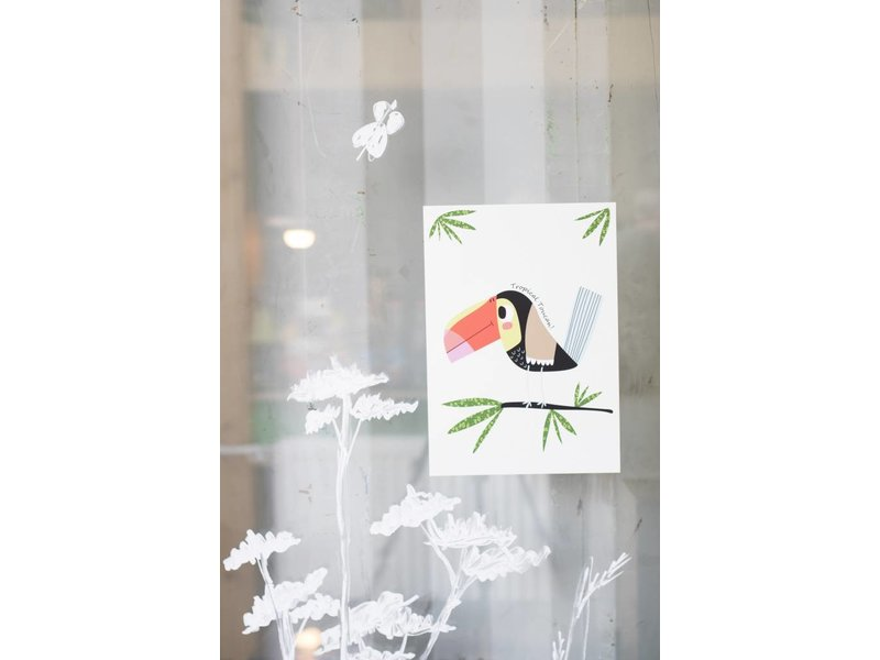 Sparkling paper poster tropical toucan