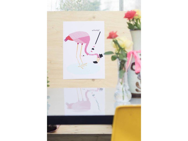 Sparkling paper poster flamingo whoop