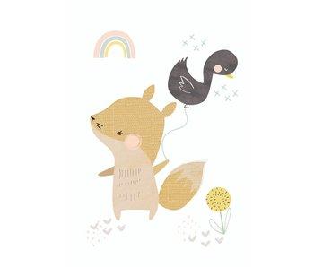 kaart vos met eendjesballon