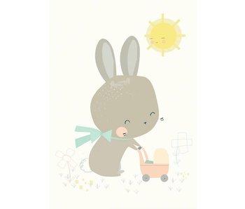 kaart konijn met poppenwagen