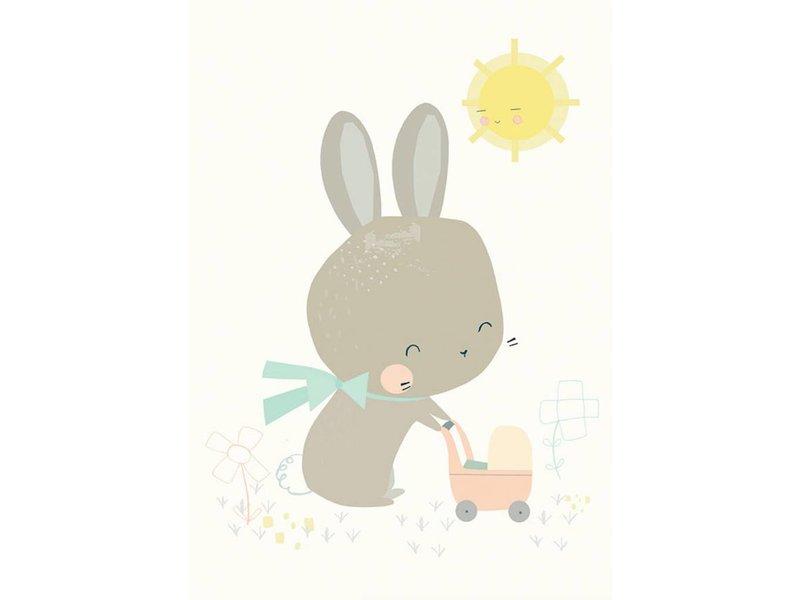 Petite Louise kaart konijn met poppenwagen