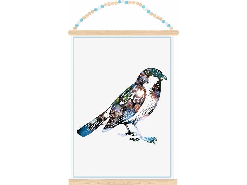 Sparkling paper poster sparrow