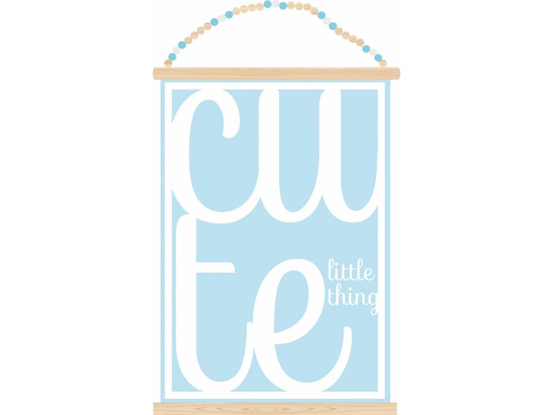 Sparkling paper poster cute little thing blue