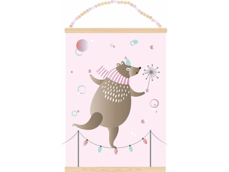 Sparkling paper poster dancing bear