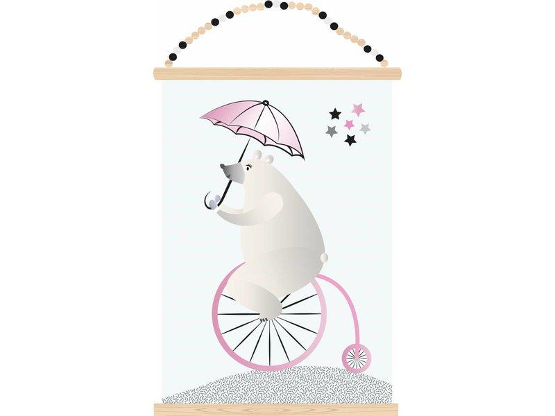 Sparkling paper poster biking bear