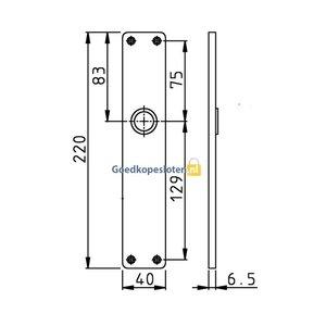 Hoppe 202 ug F1 zonder sleutelgat / langschilden aluminium rechthoekig