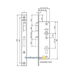Nemef 8691 Smaldeurslot PC72 DM 'rechthoekig'