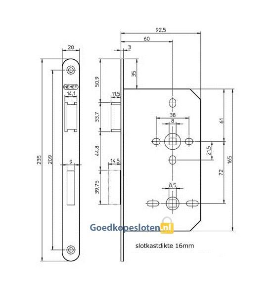 Nemef 644 badkamer wc deurslot hang en sluitwerk goedkopesloten kvk 62742051 - Badkamer wc ...
