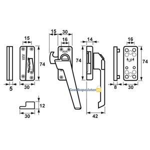 Axa 3318 raamsluiting met knop