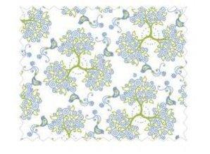 Tante Ema Cotton Fabric: enchanted forest, 50x65cm, 1 piece, sky blue