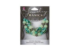 Schmuck Gestalten / Jewellery art Glass Mixed Bead Strand - Teal/Green (29pcs)