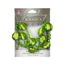 Schmuck Gestalten / Jewellery art Glass Mixed Bead Strand - Green (13.5ins)