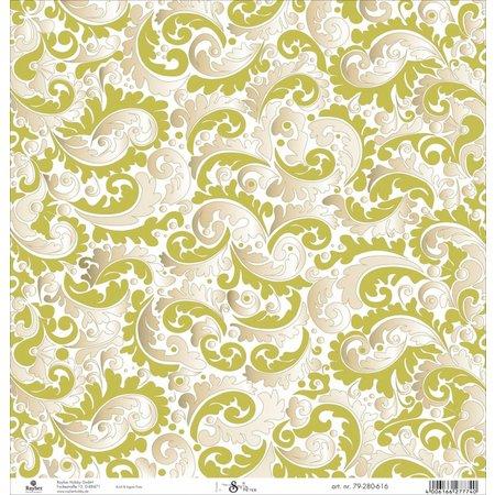 Designer Papier Scrapbooking: 30,5 x 30,5 cm Papier Scrapbooking-Papier: Ranken mit goldeffekt