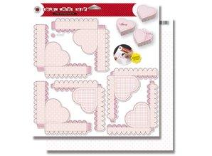Dekoration Schachtel Gestalten / Boxe ... Cajas Corazón rosa bebé Stanzbogen