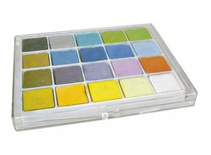 FARBE / INK / CHALKS ... Pastel chalk, box with 20 colors