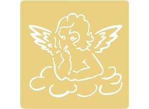 Schablonen, für verschiedene Techniken / Templates Embossing stencils, 65x65mm, Flying Angel