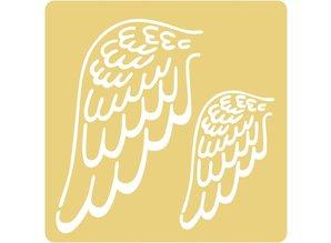 Schablonen und Zubehör für verschiedene Techniken / Templates Embossing stencils, 65x65mm, angel wings