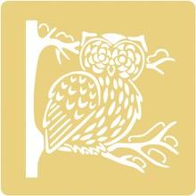 Schablonen, für verschiedene Techniken / Templates Embossing stencils, 65x65mm, Owl