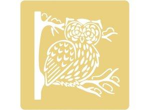 Schablonen und Zubehör für verschiedene Techniken / Templates Embossing stencils, 65x65mm, Owl