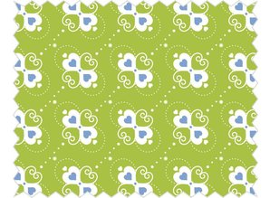 Tante Ema Cotton fabric: Heart candy apple green,