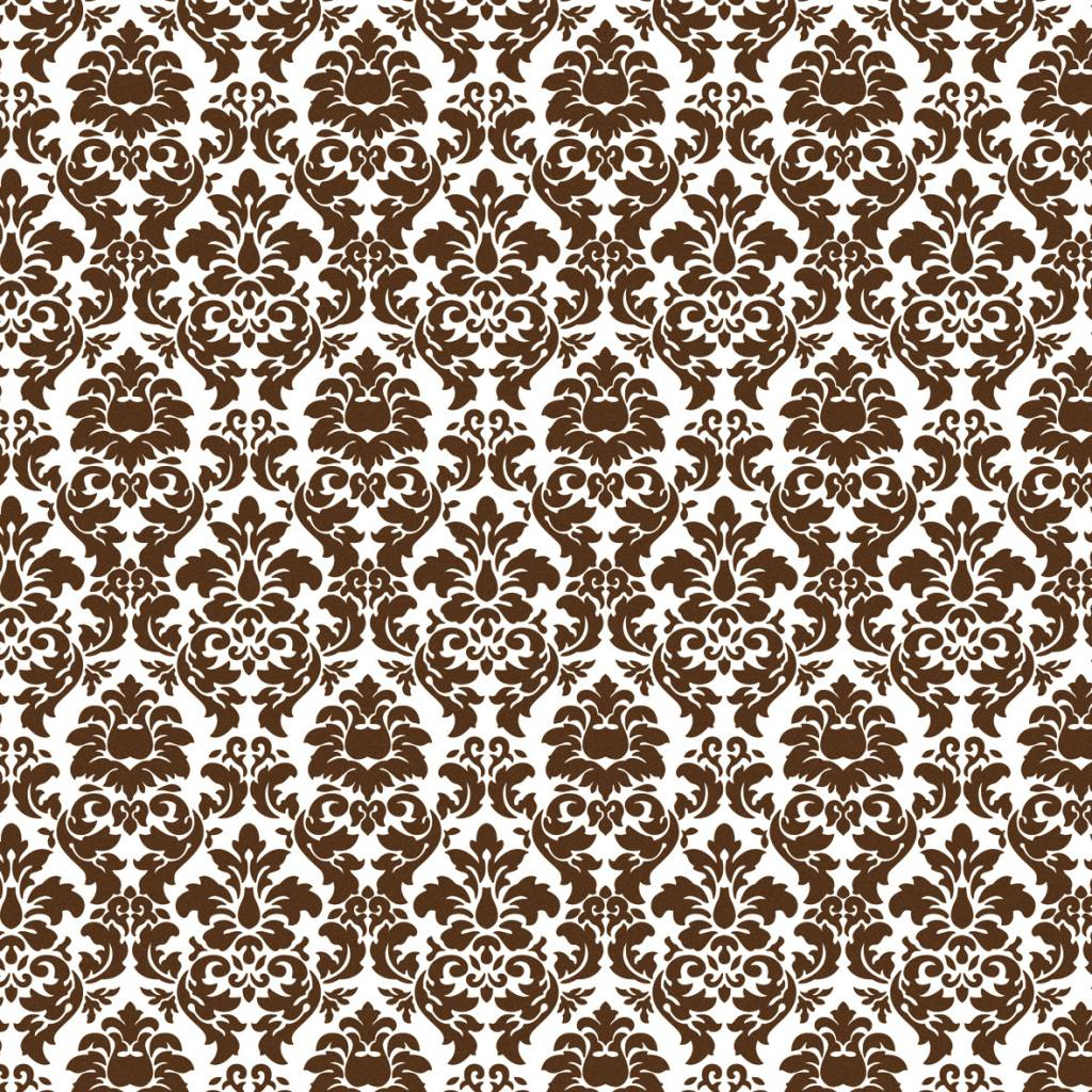 Scrapbooking Paper Brown Damask
