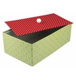 Tante Ema Caja grande de papel maché con tapa separada, 19,5x33x11 cm