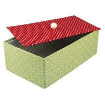 Stor papmaché kasse med separat låg, 19,5x33x11 cm