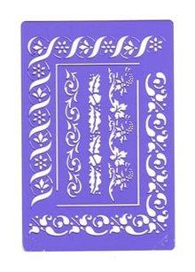 Schablonen, für verschiedene Techniken / Templates Bellezza bordo stencil - bloemenmix, modello Nr.BE03FL da Crafts Too