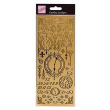 Embellishments / Verzierungen Outline Stickers - Antique clocks and keys (gold)