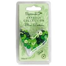 Mini buttons - capsule (100pk) green tones