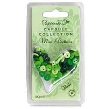Embellishments / Verzierungen Mini buttons - capsule (100pk) green tones
