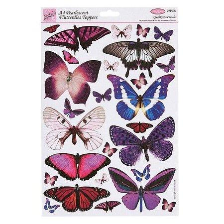 Embellishments / Verzierungen Vlinders, op A4 vel gestempeld