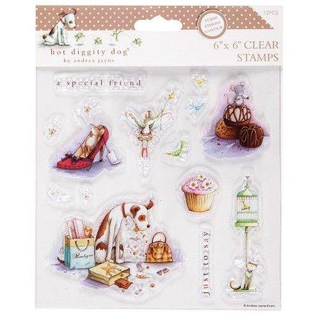 Stempel / Stamp: Transparent Klare frimærker, 15x15cm, hund motiver