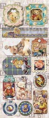 Sticker Embossed Foglio Di Adesivi Teddy motivi 1 con glitter