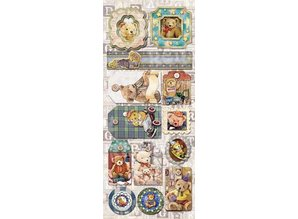 Sticker Embossed Foil Stickers Teddy motifs 1 with glitter