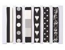 DEKOBAND / RIBBONS / RUBANS ... Bändermischung, schwarz/weiß