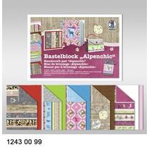"""Bastelblock """"Alpenchic"""", Block = 16 Blatt, 24x34cm, 300gr, doppelseitig bedruckt"""